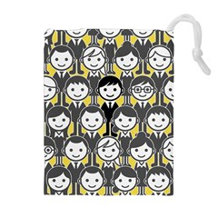 Man Girl Face Standing Drawstring Pouches (Extra Large)