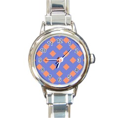 Orange Blue Round Italian Charm Watch