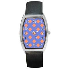 Orange Blue Barrel Style Metal Watch