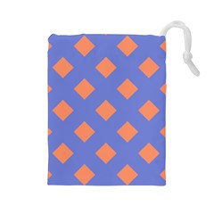 Orange Blue Drawstring Pouches (Large)