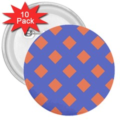 Orange Blue 3  Buttons (10 pack)