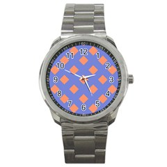 Orange Blue Sport Metal Watch