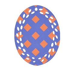 Orange Blue Oval Filigree Ornament (2-Side)