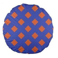Orange Blue Large 18  Premium Flano Round Cushions