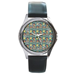 Owl Eye Blue Bird Copy Round Metal Watch