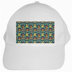 Owl Eye Blue Bird Copy White Cap
