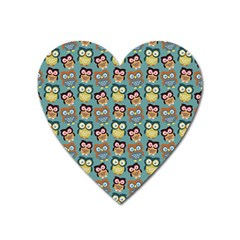 Owl Eye Blue Bird Copy Heart Magnet