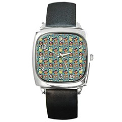 Owl Eye Blue Bird Copy Square Metal Watch