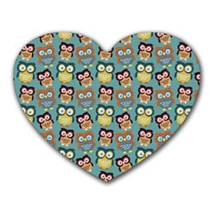 Owl Eye Blue Bird Copy Heart Mousepads