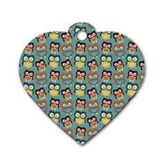 Owl Eye Blue Bird Copy Dog Tag Heart (One Side)