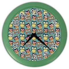 Owl Eye Blue Bird Copy Color Wall Clocks