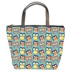 Owl Eye Blue Bird Copy Bucket Bags