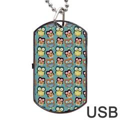 Owl Eye Blue Bird Copy Dog Tag USB Flash (Two Sides)