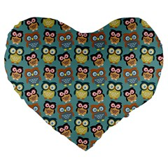 Owl Eye Blue Bird Copy Large 19  Premium Heart Shape Cushions