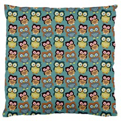 Owl Eye Blue Bird Copy Large Flano Cushion Case (One Side)