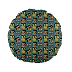 Owl Eye Blue Bird Copy Standard 15  Premium Flano Round Cushions