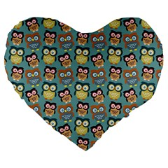 Owl Eye Blue Bird Copy Large 19  Premium Flano Heart Shape Cushions
