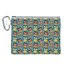 Owl Eye Blue Bird Copy Canvas Cosmetic Bag (L)