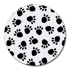 Paws Black Animals Round Mousepads