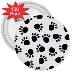 Paws Black Animals 3  Buttons (100 pack)