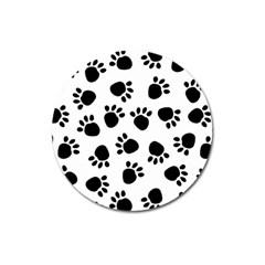 Paws Black Animals Magnet 3  (Round)