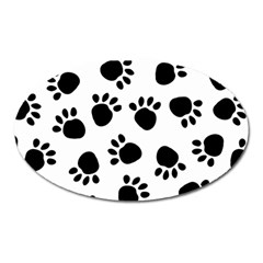 Paws Black Animals Oval Magnet