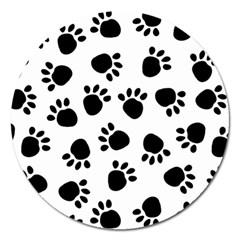 Paws Black Animals Magnet 5  (Round)