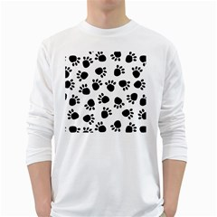 Paws Black Animals White Long Sleeve T-Shirts