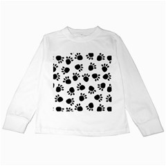 Paws Black Animals Kids Long Sleeve T-Shirts