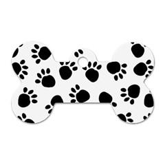 Paws Black Animals Dog Tag Bone (Two Sides)