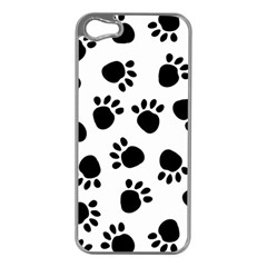 Paws Black Animals Apple iPhone 5 Case (Silver)