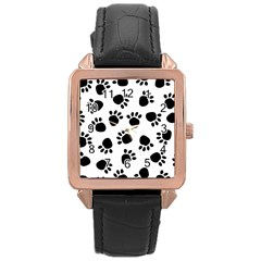 Paws Black Animals Rose Gold Leather Watch