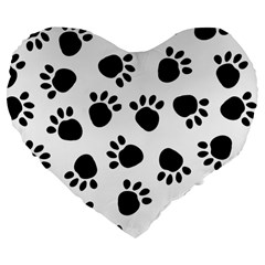 Paws Black Animals Large 19  Premium Flano Heart Shape Cushions