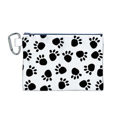 Paws Black Animals Canvas Cosmetic Bag (M)