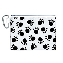 Paws Black Animals Canvas Cosmetic Bag (L)