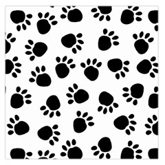 Paws Black Animals Large Satin Scarf (Square)