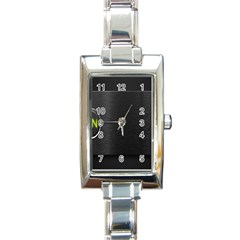 On Black Rectangle Italian Charm Watch