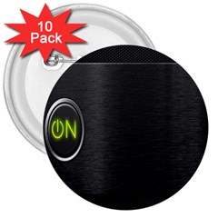 On Black 3  Buttons (10 pack)