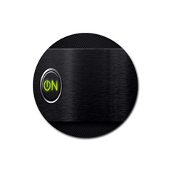 On Black Rubber Round Coaster (4 pack)