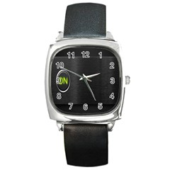 On Black Square Metal Watch
