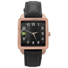 On Black Rose Gold Leather Watch