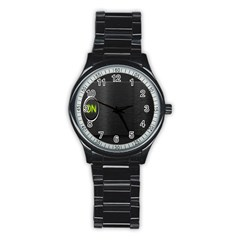 On Black Stainless Steel Round Watch