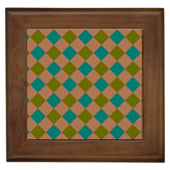 Plaid Box Brown Blue Framed Tiles