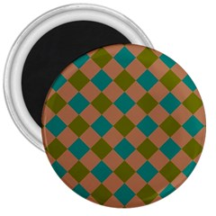 Plaid Box Brown Blue 3  Magnets
