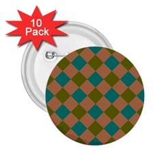 Plaid Box Brown Blue 2.25  Buttons (10 pack)