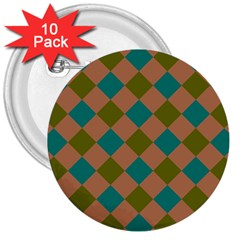 Plaid Box Brown Blue 3  Buttons (10 pack)