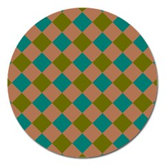 Plaid Box Brown Blue Magnet 5  (Round)
