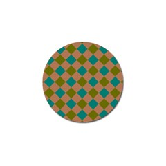 Plaid Box Brown Blue Golf Ball Marker