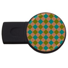 Plaid Box Brown Blue USB Flash Drive Round (1 GB)