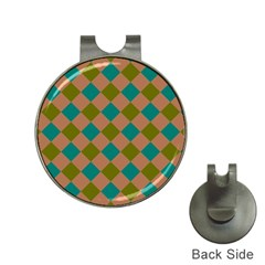 Plaid Box Brown Blue Hat Clips with Golf Markers